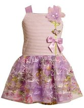 Bonnie Jean Girls 2T-6X Lavender-Purple Striped Knit to Novelty Bow Printed M... image 1