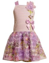Bonnie Jean Girls 2T-6X Lavender-Purple Striped Knit to Novelty Bow Printed M... image 2