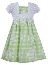 Big Girls Tween Green White Dot Print Chiffon Dress/Jacket Set (7, Green)