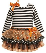 Size-6/9M BNJ-5634B 2-Piece ORANGE BLACK WHITE STRIPE KNIT MIX PRINT TIERS Ha...