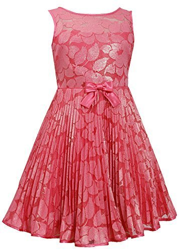 Little-Girls Coral Illusion Floral Lace Sunburst Crystal Pleat Dress, CR3NA, ...