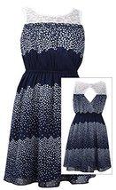 Little Girls 2T-6X Navy-Blue Colorblock Dot Print Illusion Lace Chiffon Dress...