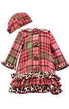 Little Girls Coral Plaid Tier Ruffle Border Fleece Coat/Hat Set, W2-TDLG-WIN1...