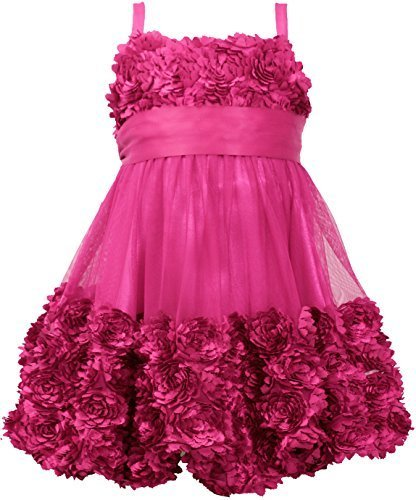 Little Girls Toddler Die Cut Bonaz Rosette Bubble Mesh Social Dress, MG2BU, M...