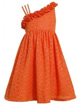 Size-6, Orange, BNJ-2143S, Orange Foil Dot Embroidered Eyelet Asymmetric One ...