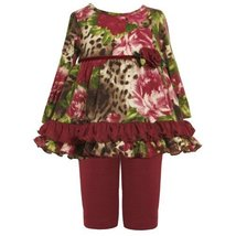 Size-18M BNJ-2144B 2-Piece BURGUNDY-RED BROWN GREEN Floral Animal Print Fuzzy...