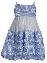 Little Girls 2T-6X Periwinkle-Blue Ivory Die Cut Bonaz Rosette Bubble Mesh Dr... image 1