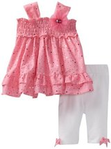 Bonnie Baby Girls Newborn Glitter Eyelet Legging Set (24 Months, Pink) [Apparel]