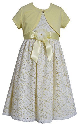 Big-Girls Tween Yellow/Ivory Floral Lace Overlay Dress/Jacket Set, Yellow, 7,...