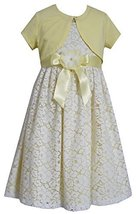 Big-Girls Tween Yellow/Ivory Floral Lace Overlay Dress/Jacket Set, Yellow, 8,...