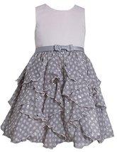 Little Girls Satin to Spangle Dot Chiffon Cascade Ruffle Dress (4, Pink) image 2