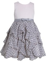 Little-Girls 2T-6X Satin to Spangle Dot Chiffon Cascade Ruffle Dress, Bonnie ...
