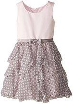 Little Girls Satin to Spangle Dot Chiffon Cascade Ruffle Dress (5, Pink)