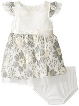 Baby-Girls 3M-24M Ivory Grey Quilted Floral Lace Overlay Dress (18 Months, Iv...