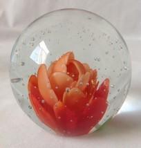 Orange Red Lotus Flower Art Glass Paperweight U... - $39.54