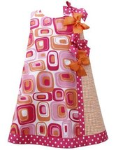 Little Girls 2T-6X Fuchsia-Pink Orange Dotted Bows Geometric Print Shift Dres...