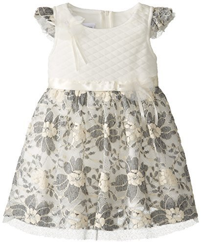 Bonnie Jean Little Girls' Dress Quilted Bodice To Lace Skirt, Ivory, 3T