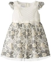 Little-Girls 2T-6X Ivory Grey Quilted Floral Lace Overlay Dress, IO2BU, Ivory...