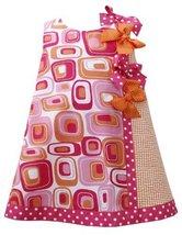 Fuchsia-Pink Orange Dotted Bows Geometric Print Shift Dress FU2BU, Fuchsia, B...