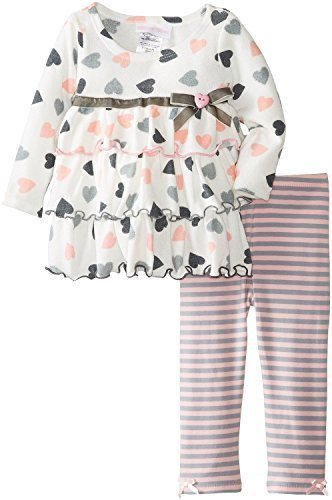 Bonnie Jean Little Girls Toddler 2T-4T Heart Print Knit Tiered Legging Set, G...