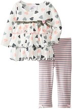 Bonnie Jean Little Girls Toddler 2T-4T Heart Print Knit Tiered Legging Set, G... image 2