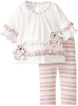 Bonnie Jean Little Girls Toddler Fuzzy Knit Chevron Print Legging Set (4T, Iv...