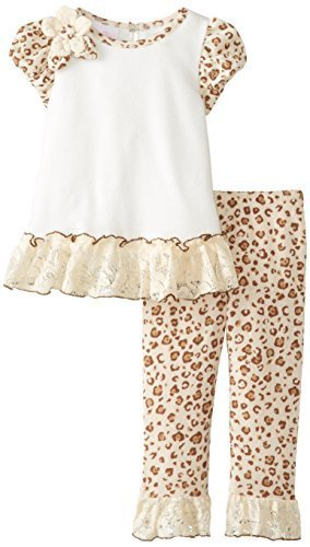 Bonnie Baby Girls' Sparkle Knit Top with Leopard Print Legging, Ivory, 12 Months
