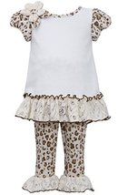 Bonnie Baby Girls' Sparkle Knit Top with Leopard Print Legging, Ivory, 18 Months