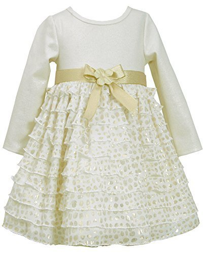 Bonnie Jean Little-Girls Toddler 2T-4T Ivory Gold Knit Dot Eyelash Ruffle Dre...