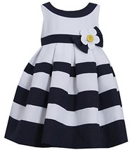 Little Girls Daisy Flower Pleated Colorblock Nautical Resort Dress (3T, Navy)