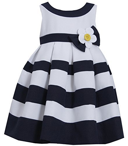 Little Girls Daisy Flower Pleated Colorblock Nautical Resort Dress (4T, Navy)