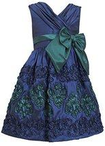Little-Girls 2T-6X Navy-Blue Green Crossover Soutache Border Taffeta Dress, 4...