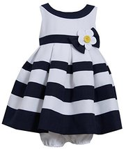 Little Girls Daisy Flower Pleated Colorblock Nautical Resort Dress (4T, Navy) image 2