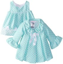 Bonnie Baby Baby-Girls Newborn Dot Coat and Dress Set, Aqua, 3-6 Months
