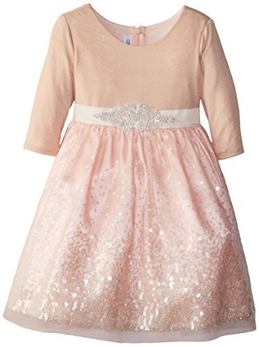Bonnie Jean Little Girls' Foil Knit To Sequin Mesh Skrit, Pink, 2T [Apparel]