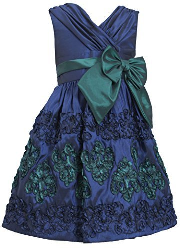 Little-Girls 2T-6X Navy-Blue Green Crossover Soutache Border Taffeta Dress, 6...