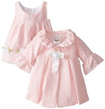 Bonnie Baby Baby-Girls Newborn Dot Coat and Dress Set, Pink, 3-6 Months