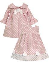 Pink White Side Tab Bow Border Jacquard Dot Dress/Coat Set PK0SA, Pink, Bonni...
