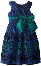 Bonnie Jean Big Girls' Crossover Bodice Dress, Navy, 14 [Apparel] Bonnie Jean image 1