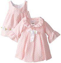 Bonnie Baby Baby-Girls Newborn Dot Coat and Dress Set, Pink, 6-9 Months image 1