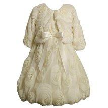 Faux Fur Bonaz Rosette Bubble Dress/Jacket Set IV3SA, Bonnie Jean Girls 2T-6X... image 2