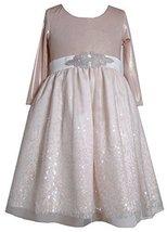 Bonnie Jean Little Girls 2T-6X Shimmer Knit Beaded Waist to Sequin Border Dre...