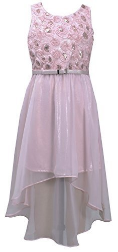 Bonnie Jean Little Girls 4-6X Pink Belted Sequin Bonaz High-Low Chiffon Dress...