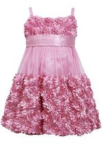 Little Girls 2T-6X Rose-Pink Die Cut Bonaz Rosette Border Mesh Bubble Dress (...