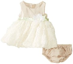 Bonnie Baby-Girls Newborn Shantung To Bonaz Dress, Beige, 3-6 Months [Apparel] image 1