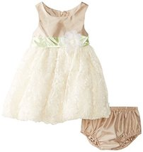 Bonnie Baby Baby Girls' Beige Shantung To Bonaz Dress, Beige, 18 Months
