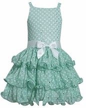 Little Girls 2T-6X Green White Spangle Dot Tier Chiffon Dress, Green, 4T, TDLG