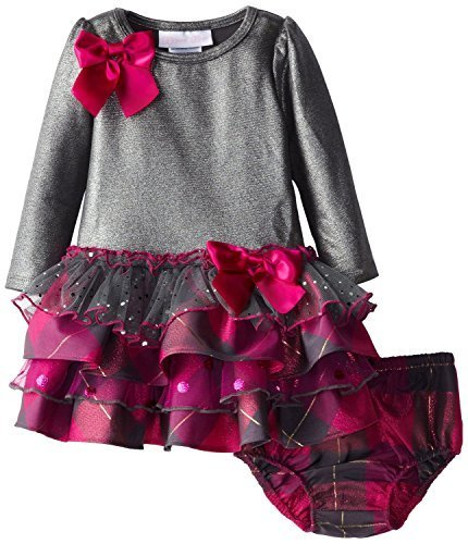 Bonnie Baby Baby-Girls Infant 12M-24M Knit To Multi Tiered Dress (18M, Grey)