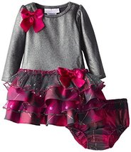 Bonnie Baby Baby-Girls Infant 12M-24M Knit To Multi Tiered Dress (24M, Grey)