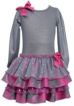 Bonnie Jean Little Girls 2T-16 Shimmer Knit Metallic Plaid Jewel Bow Front Dr... image 1